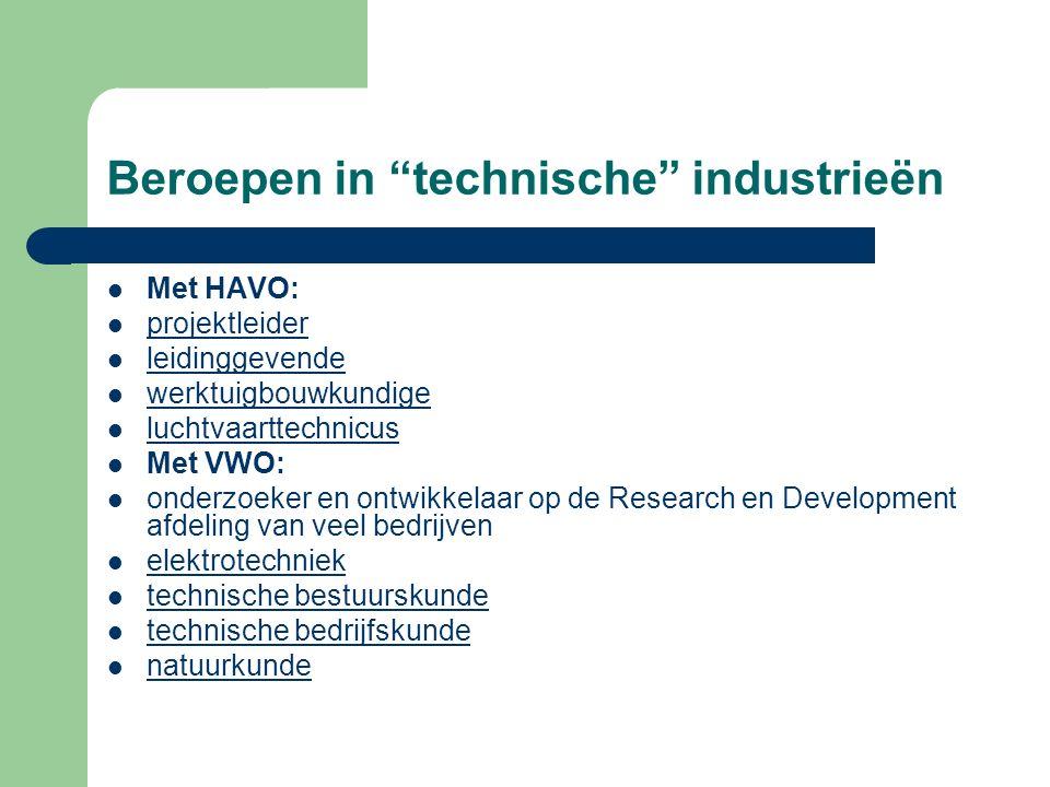 Beroepen in technische industrieën