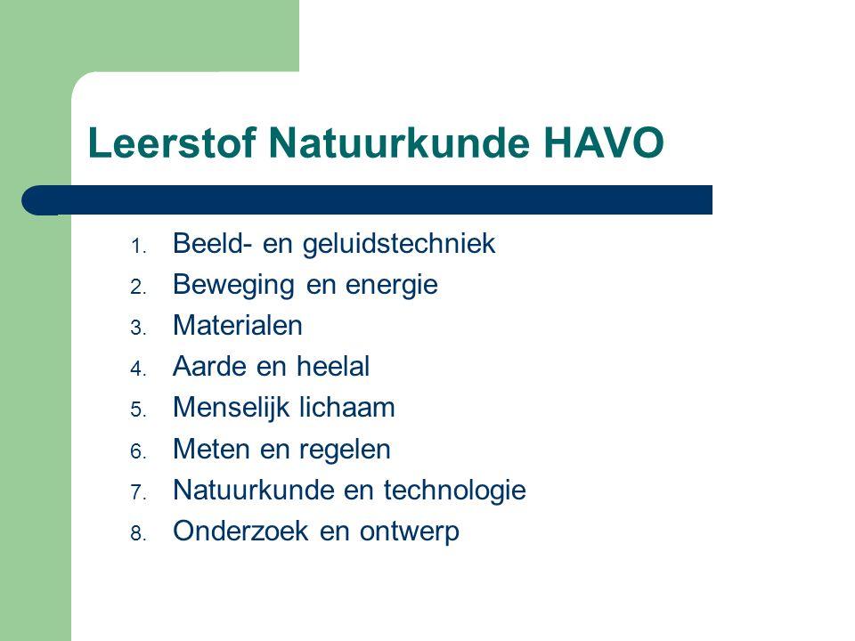 Leerstof Natuurkunde HAVO