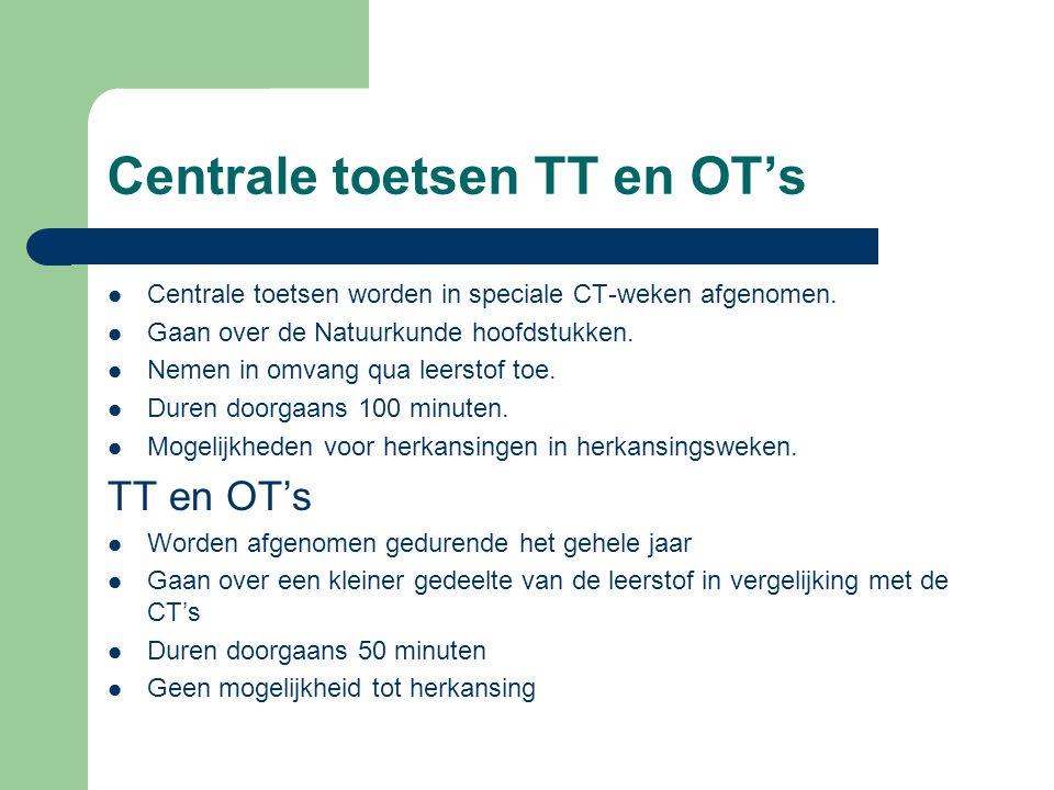 Centrale toetsen TT en OT's