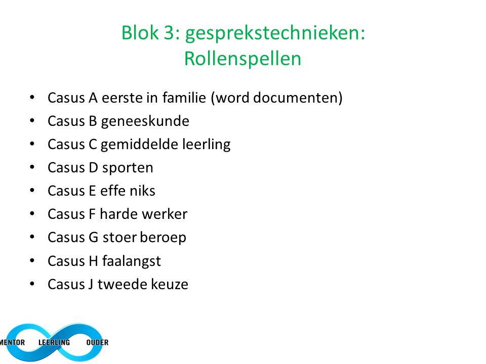 Blok 3: gesprekstechnieken: Rollenspellen