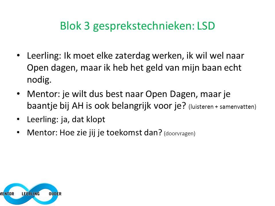 Blok 3 gesprekstechnieken: LSD