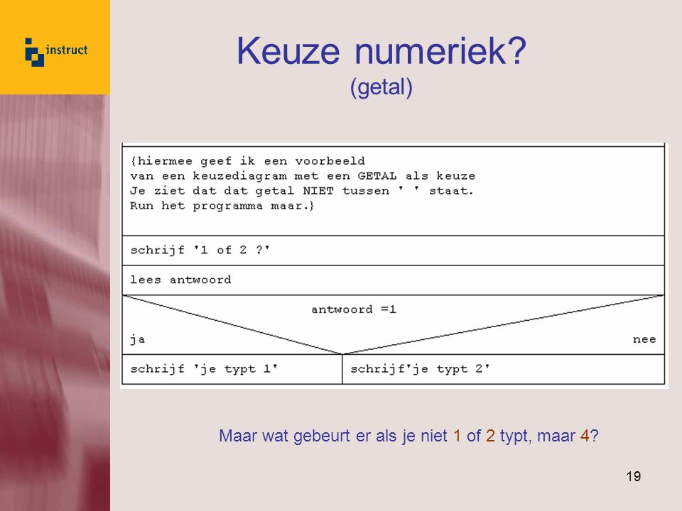 Keuze numeriek (getal)