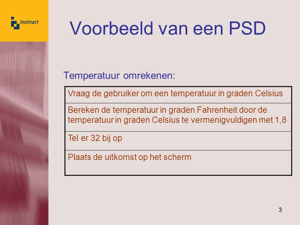 Voorbeeld van een PSD Temperatuur omrekenen: