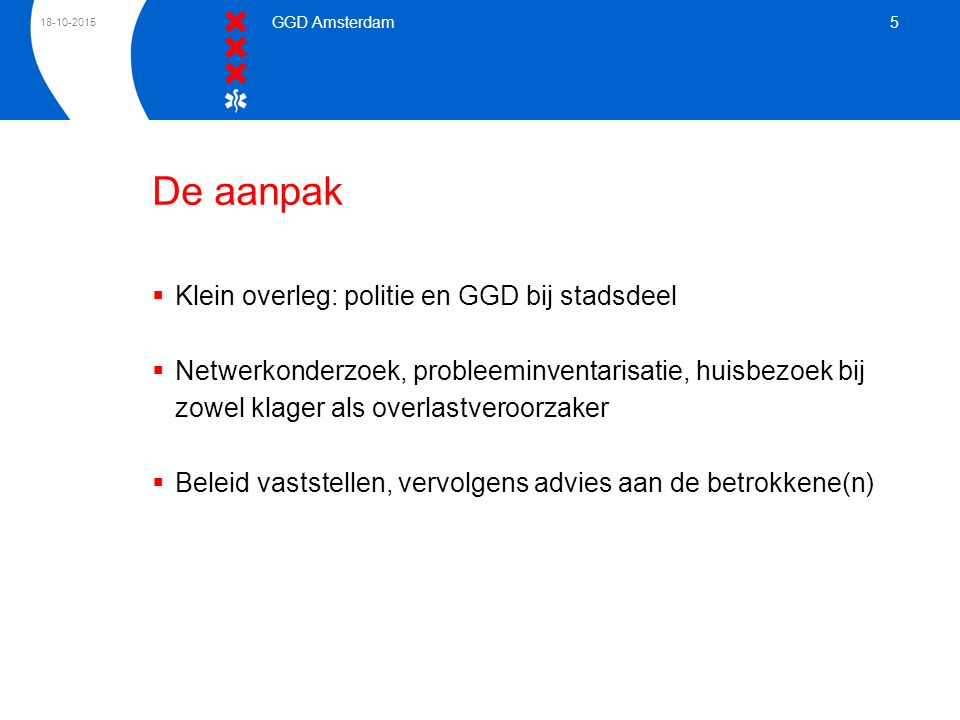 De aanpak Klein overleg: politie en GGD bij stadsdeel