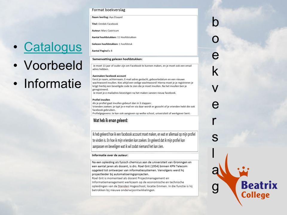 boekverslag Catalogus Voorbeeld Informatie