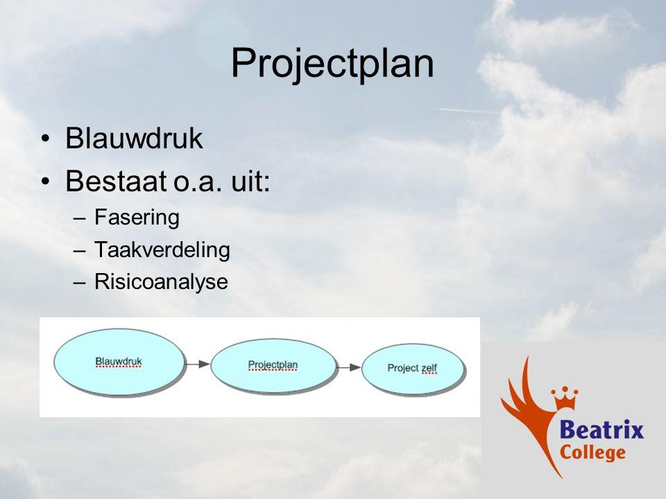 Projectplan Blauwdruk Bestaat o.a. uit: Fasering Taakverdeling
