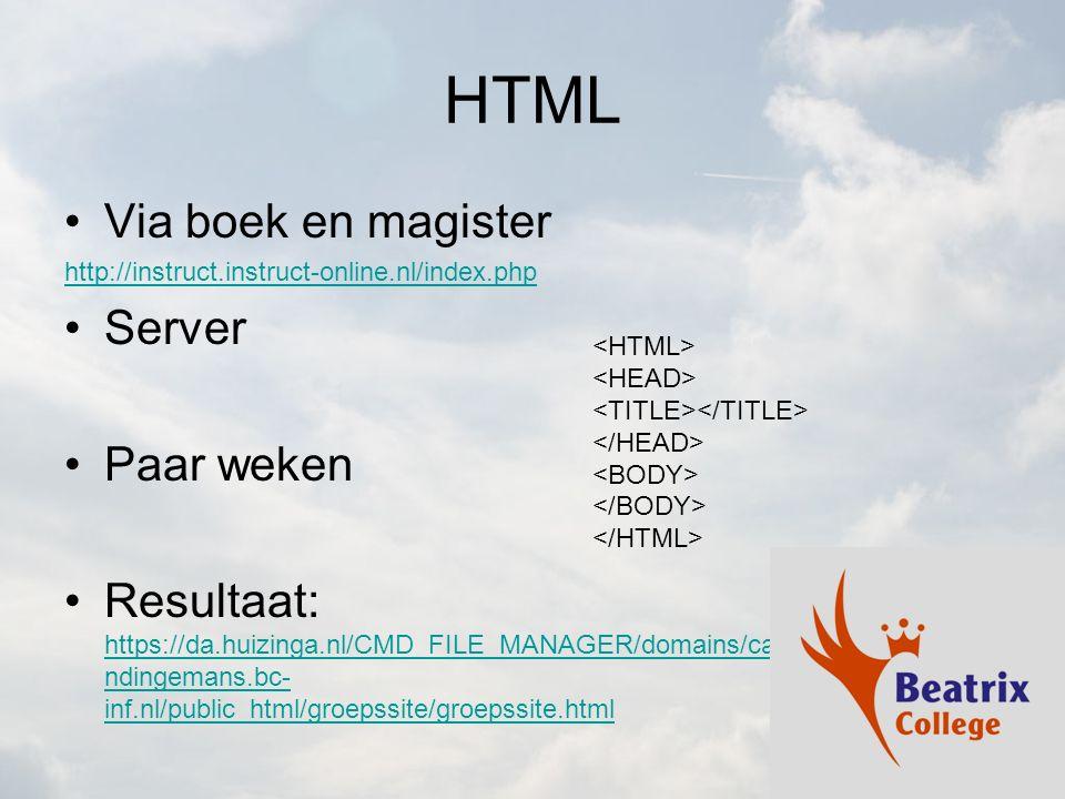 HTML Via boek en magister Server Paar weken