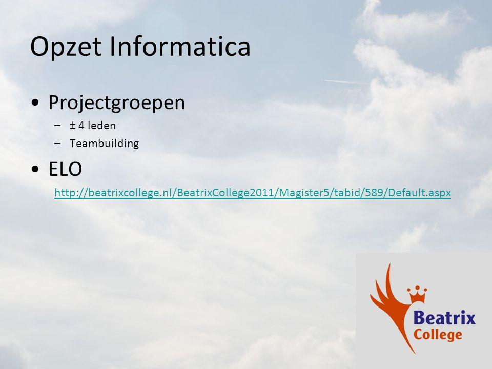 Opzet Informatica Projectgroepen ELO ± 4 leden Teambuilding
