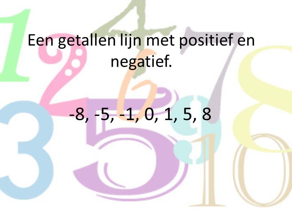Een getallen lijn met positief en negatief.