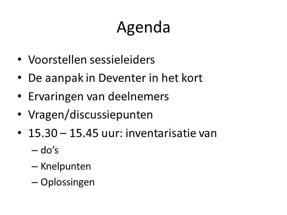 Agenda Voorstellen sessieleiders De aanpak in Deventer in het kort