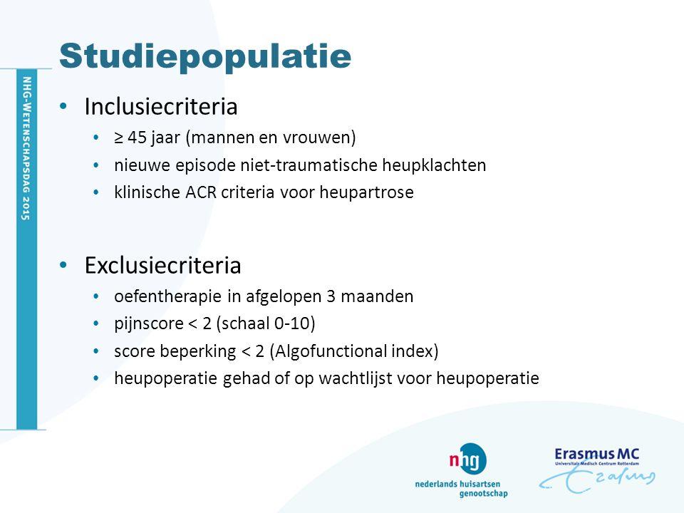 Studiepopulatie Inclusiecriteria Exclusiecriteria