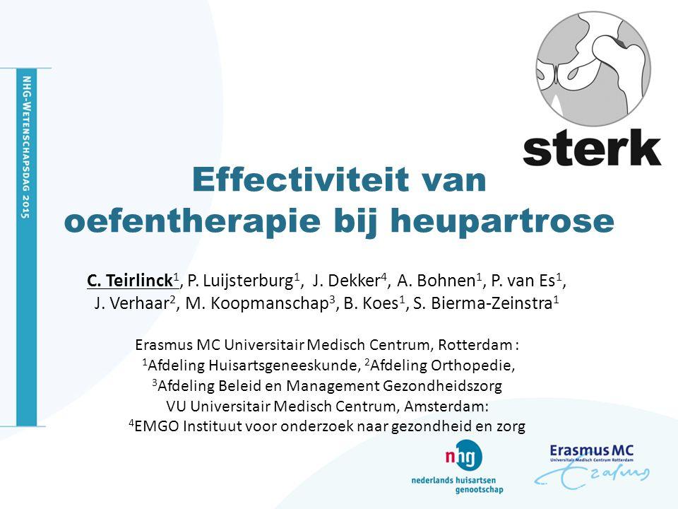 Effectiviteit van oefentherapie bij heupartrose