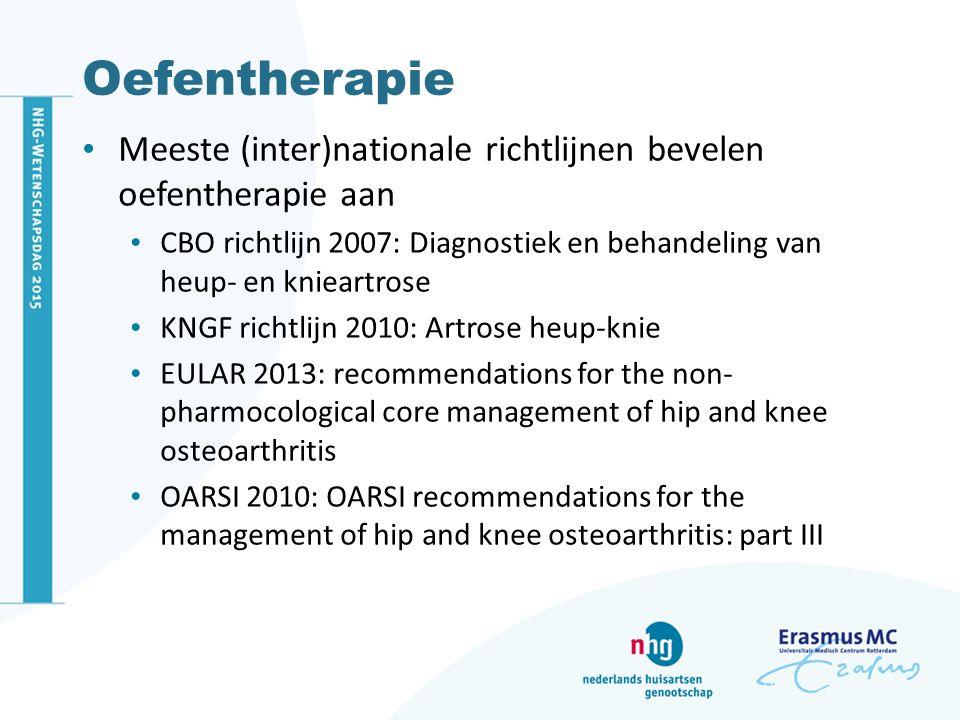 Oefentherapie Meeste (inter)nationale richtlijnen bevelen oefentherapie aan. CBO richtlijn 2007: Diagnostiek en behandeling van heup- en knieartrose.