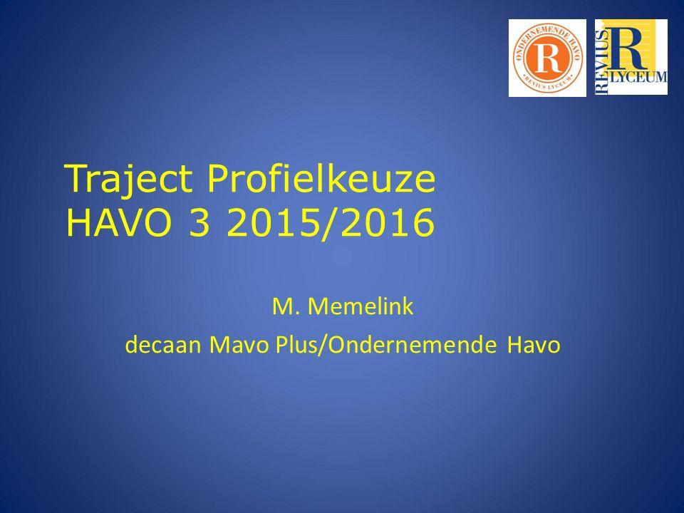 Traject Profielkeuze HAVO 3 2015/2016