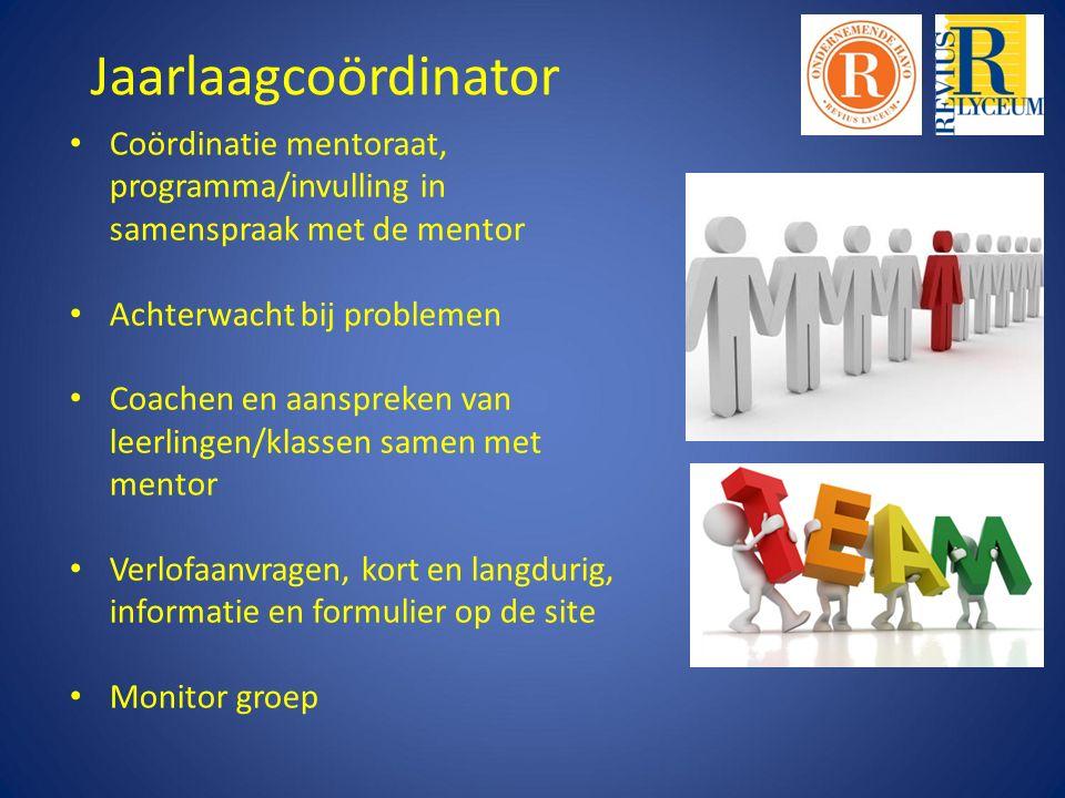 Jaarlaagcoördinator Coördinatie mentoraat, programma/invulling in