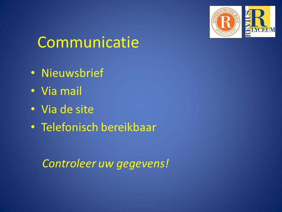 Communicatie Nieuwsbrief Via mail Via de site Telefonisch bereikbaar