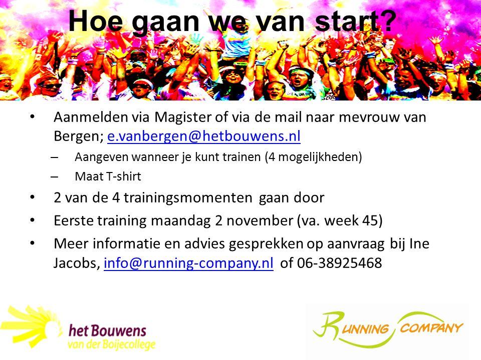 Hoe gaan we van start Aanmelden via Magister of via de mail naar mevrouw van Bergen; e.vanbergen@hetbouwens.nl.