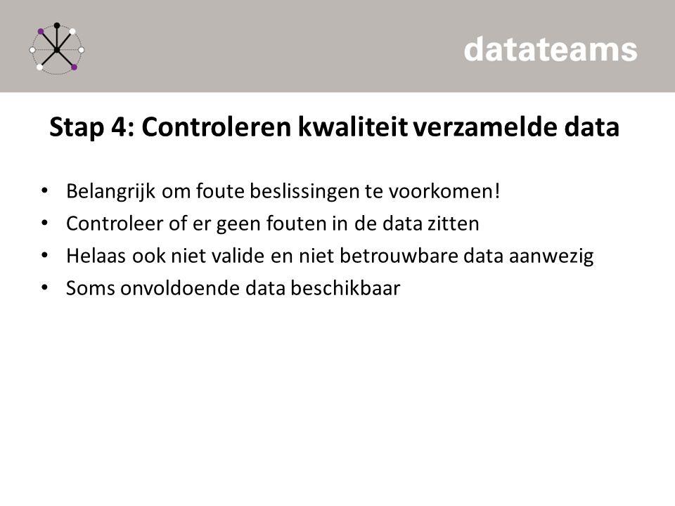 Stap 4: Controleren kwaliteit verzamelde data
