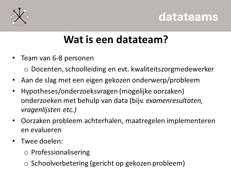 Wat is een datateam Team van 6-8 personen