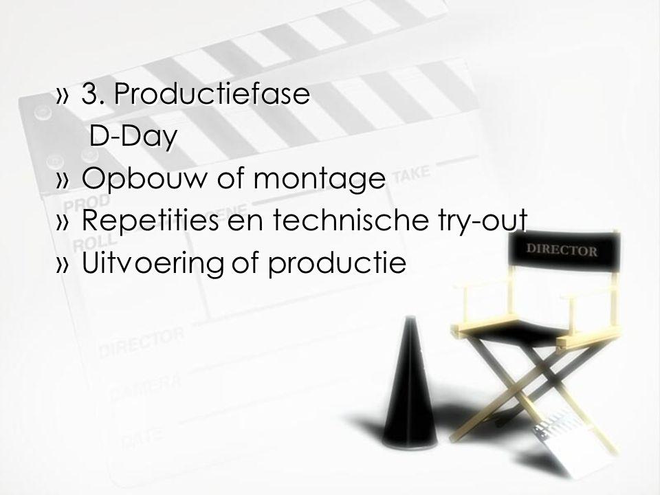 3. Productiefase D-Day Opbouw of montage Repetities en technische try-out Uitvoering of productie
