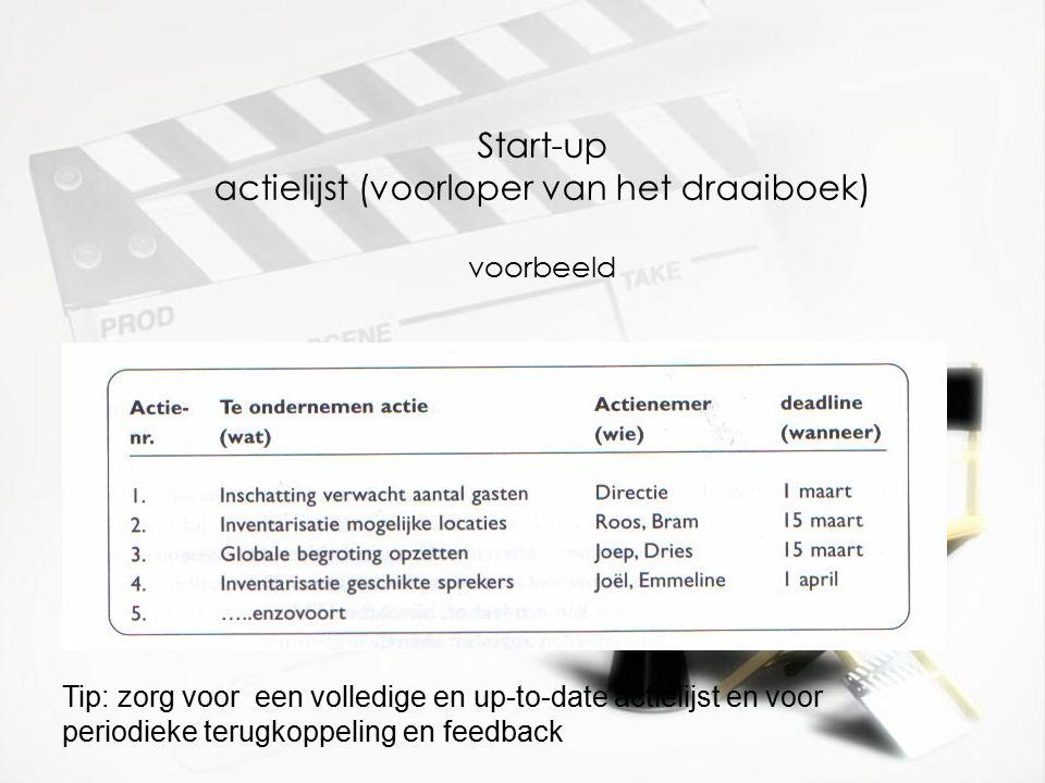 Start-up actielijst (voorloper van het draaiboek) voorbeeld