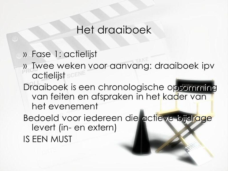 Het draaiboek Fase 1: actielijst