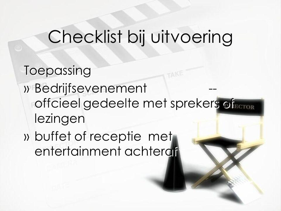 Checklist bij uitvoering