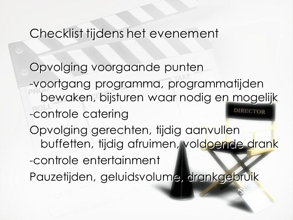 Checklist tijdens het evenement