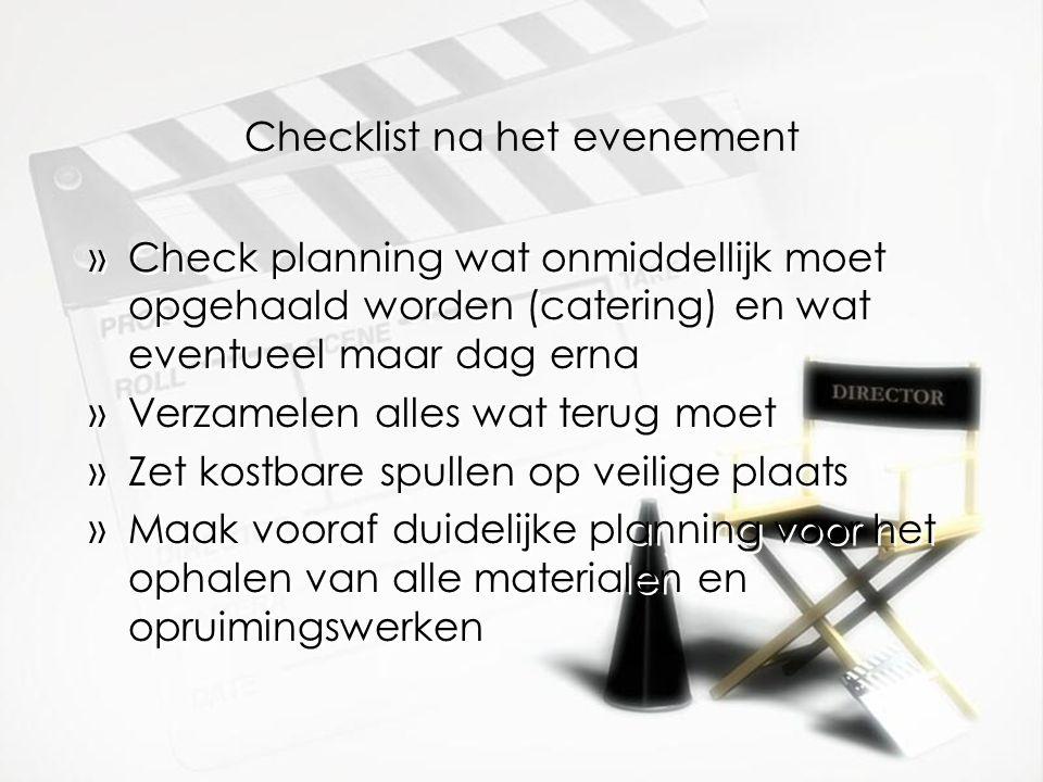 Checklist na het evenement