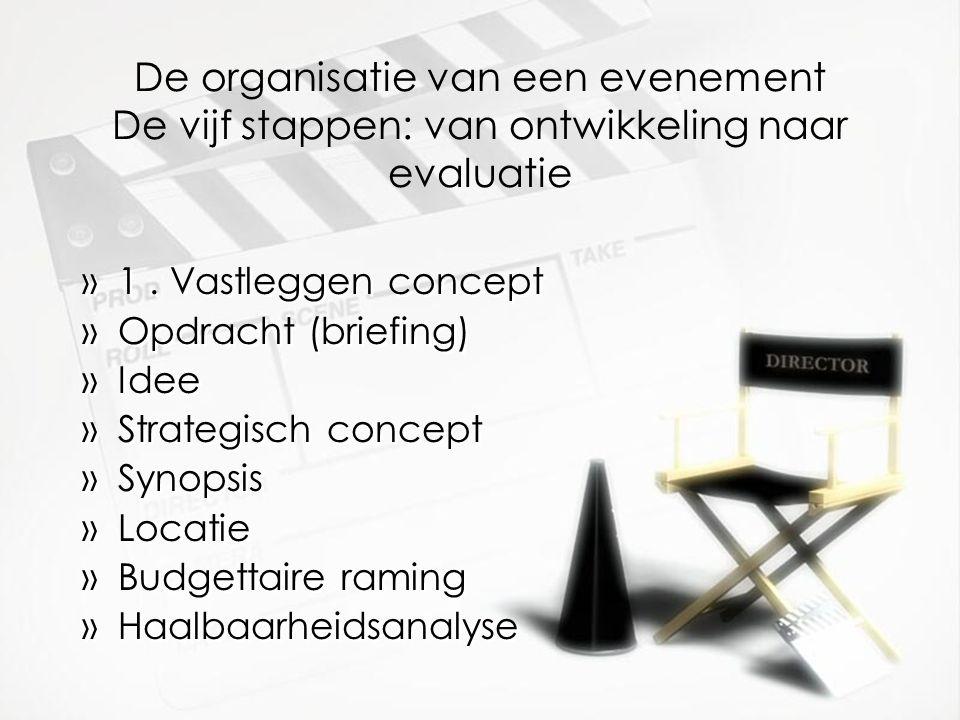 De organisatie van een evenement De vijf stappen: van ontwikkeling naar evaluatie