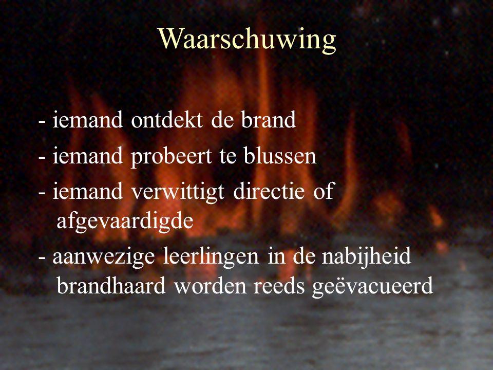Waarschuwing - iemand ontdekt de brand - iemand probeert te blussen