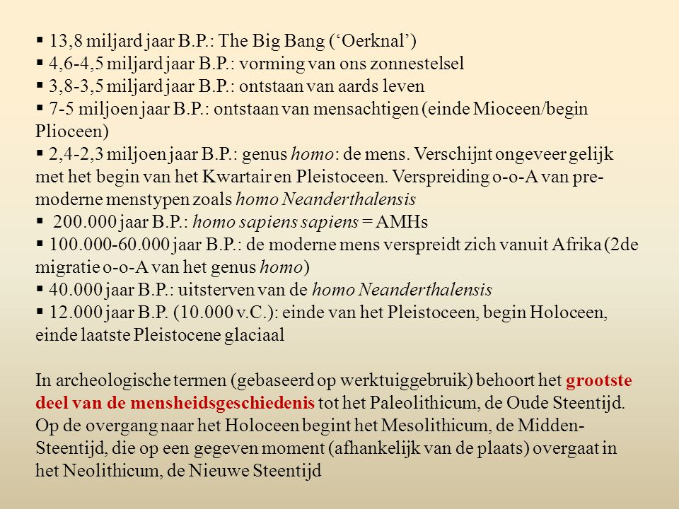 13,8 miljard jaar B.P.: The Big Bang ('Oerknal')