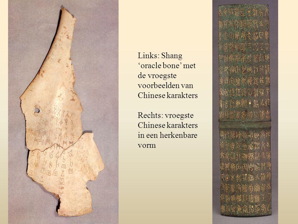 Links: Shang 'oracle bone' met de vroegste voorbeelden van Chinese karakters