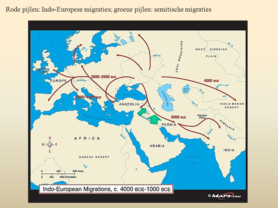 Rode pijlen: Indo-Europese migraties; groene pijlen: semitische migraties