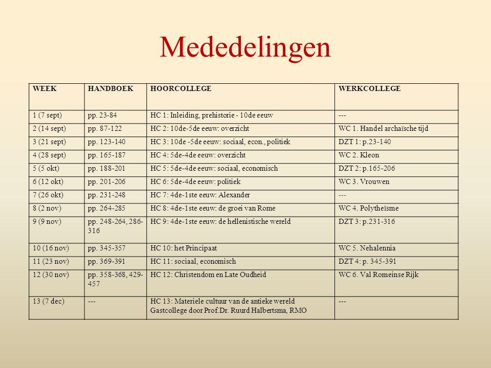 Mededelingen WEEK HANDBOEK HOORCOLLEGE WERKCOLLEGE 1 (7 sept)