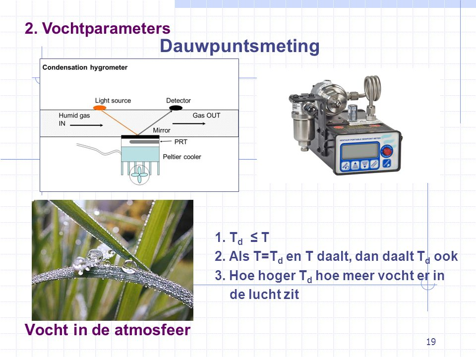 Dauwpuntsmeting 2. Vochtparameters Vocht in de atmosfeer 1. Td ≤ T