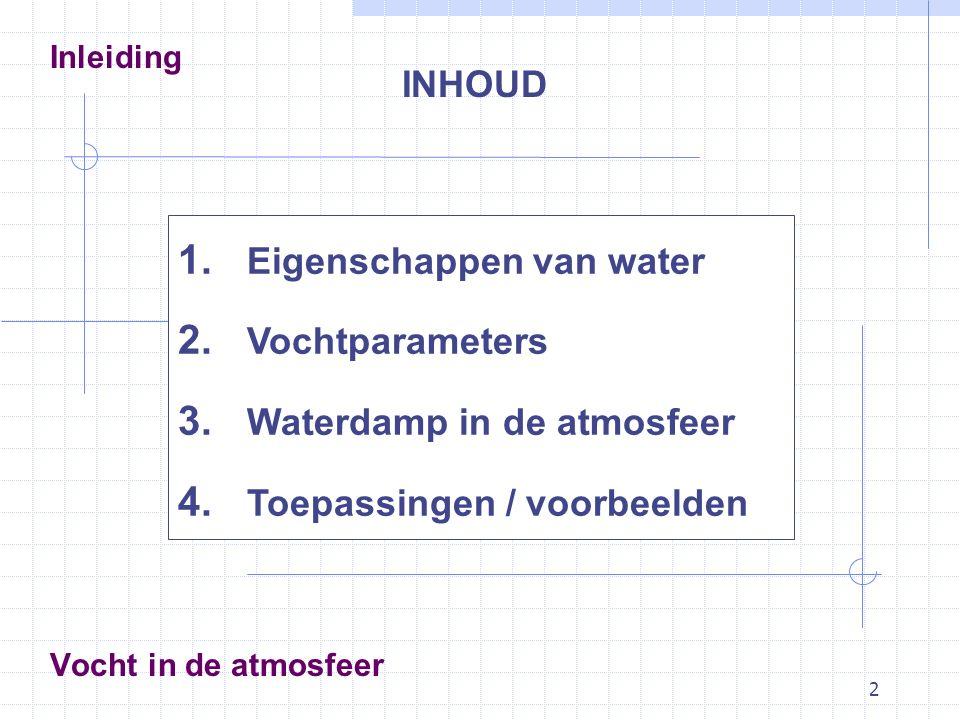 Eigenschappen van water Vochtparameters Waterdamp in de atmosfeer