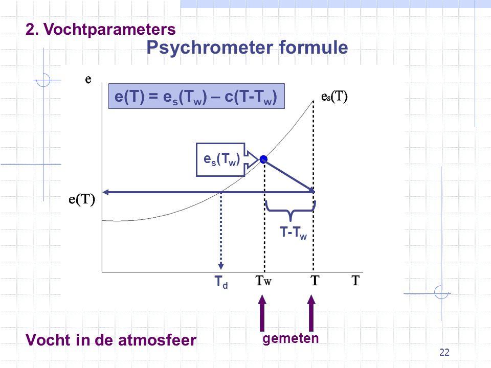 Psychrometer formule 2. Vochtparameters e(T) = es(Tw) – c(T-Tw)