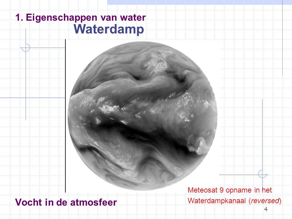 Waterdamp 1. Eigenschappen van water Vocht in de atmosfeer