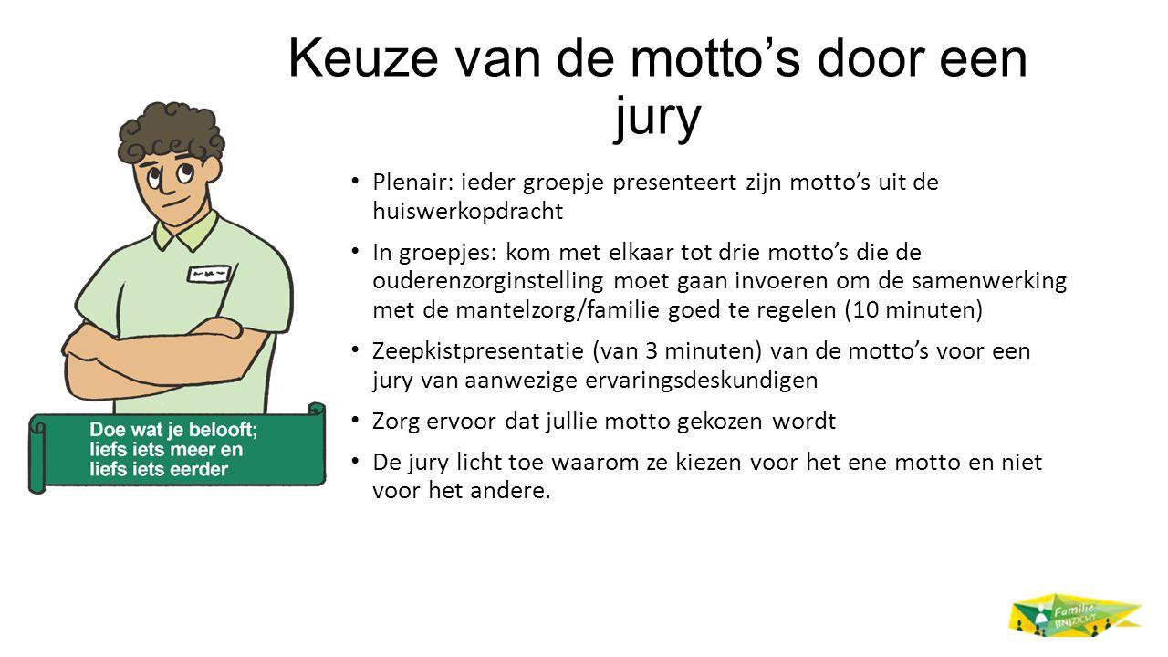 Keuze van de motto's door een jury
