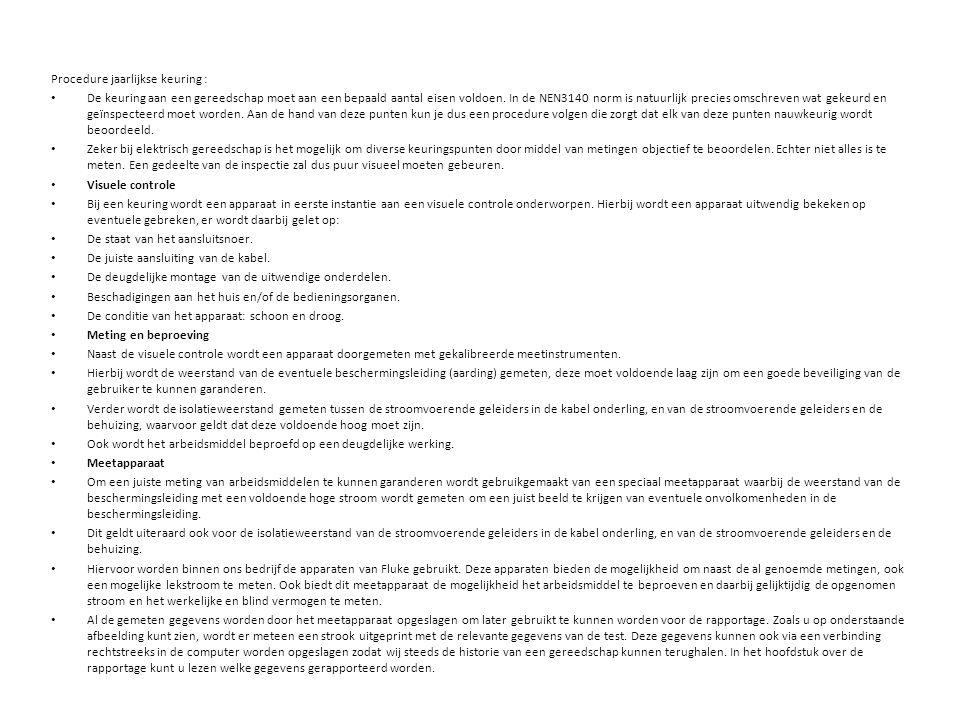 Procedure jaarlijkse keuring :