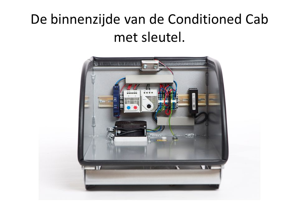 De binnenzijde van de Conditioned Cab met sleutel.