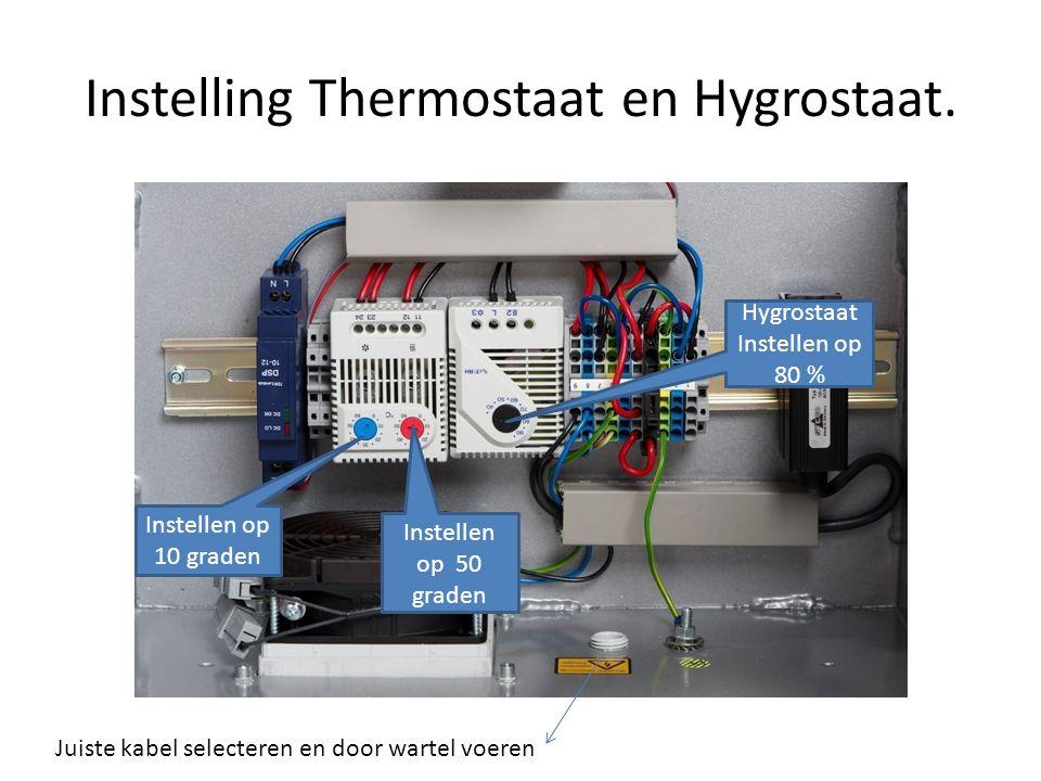 Instelling Thermostaat en Hygrostaat.