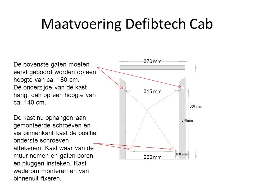Maatvoering Defibtech Cab