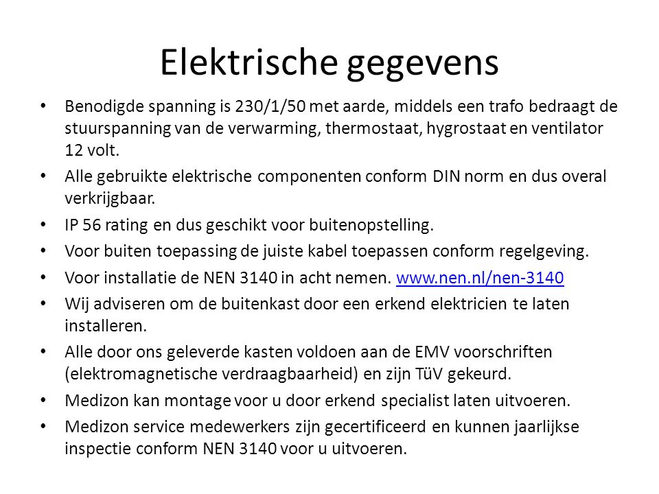 Elektrische gegevens