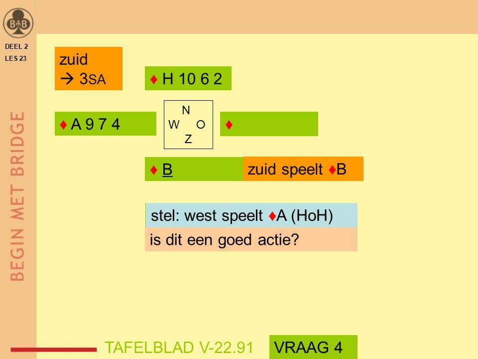 welke kaart speelt west stel: west speelt ♦A (HoH)