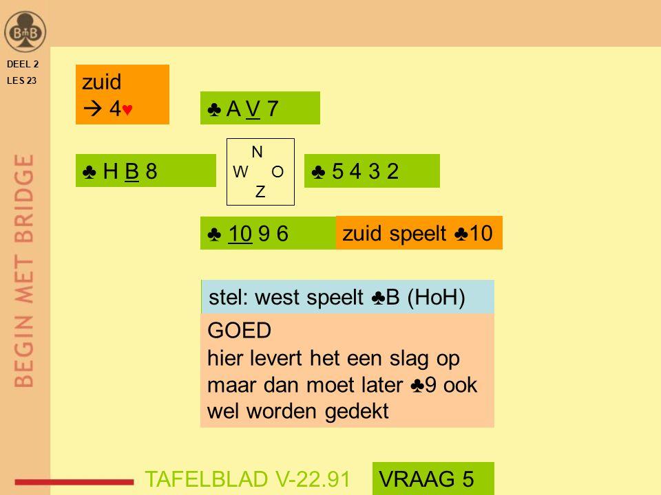 welke kaart speelt west stel: west speelt ♣B (HoH)