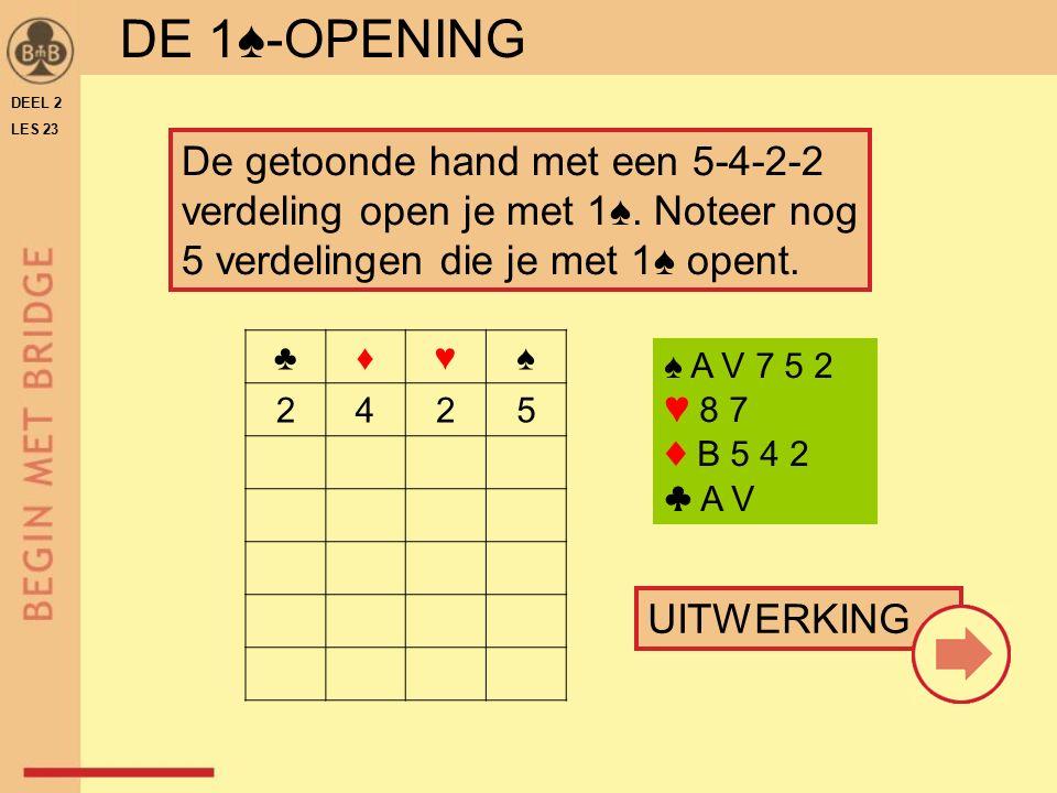DE 1♠-OPENING DEEL 2. LES 23. De getoonde hand met een 5-4-2-2 verdeling open je met 1♠. Noteer nog 5 verdelingen die je met 1♠ opent.