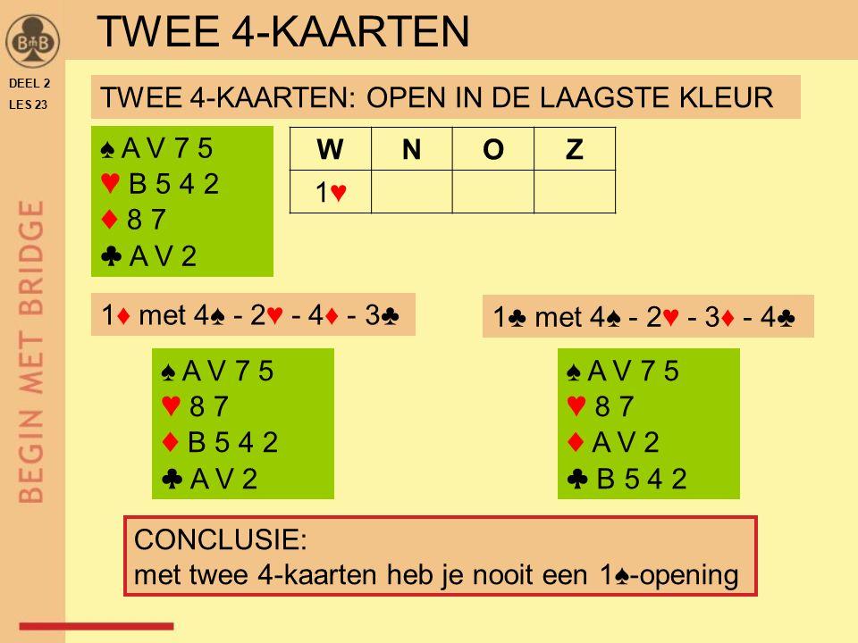 TWEE 4-KAARTEN TWEE 4-KAARTEN: OPEN IN DE LAAGSTE KLEUR ♠ A V 7 5