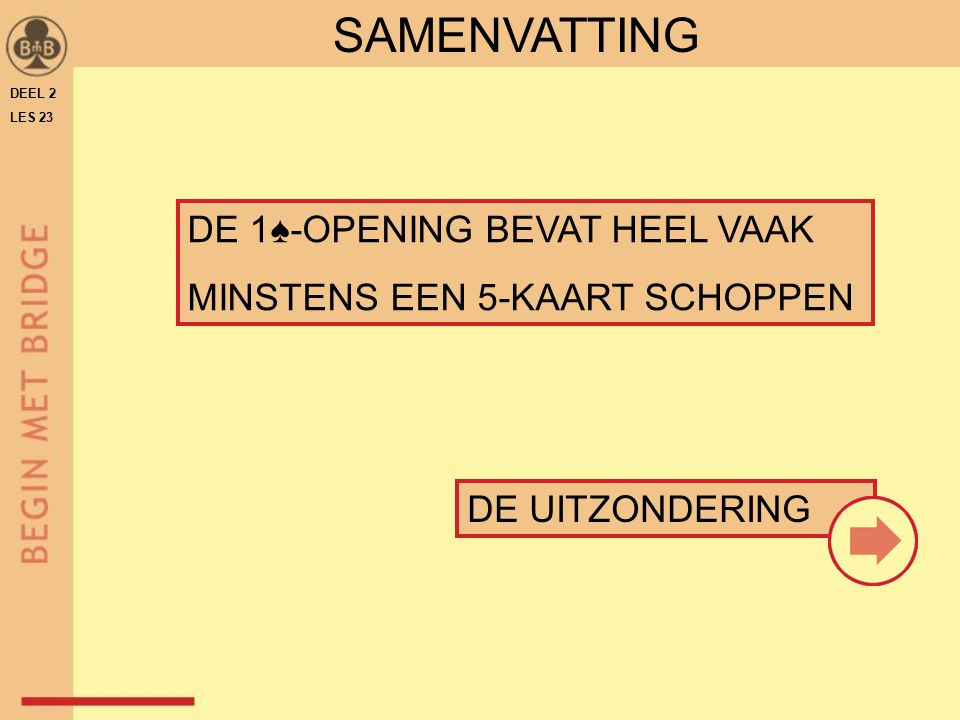 SAMENVATTING DE 1♠-OPENING BEVAT HEEL VAAK